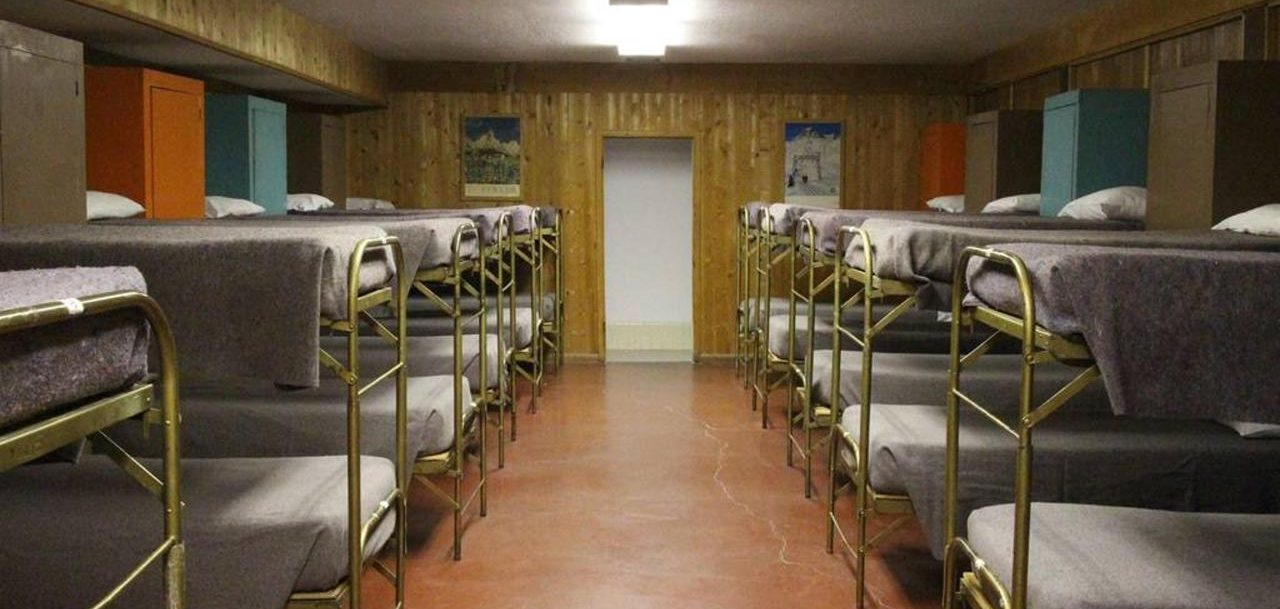 View of all dorm beds
